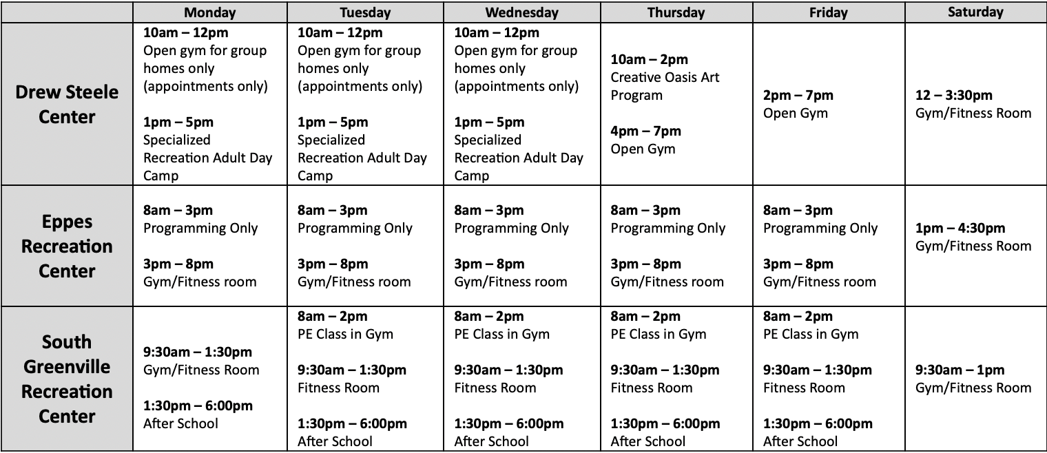 Rec and Parks Facility Schedule
