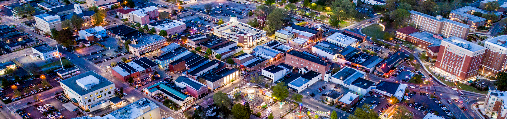 Night aerial view of uptown area